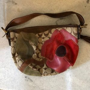 Coach Poppies for Peace suede & leather mini hobo